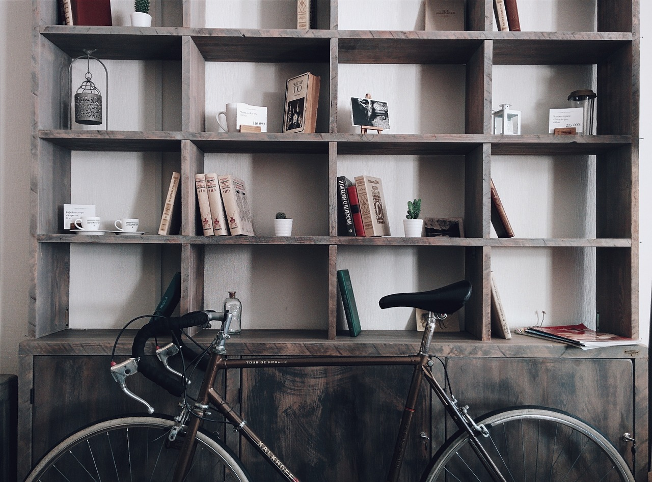 bookshelf and a bike