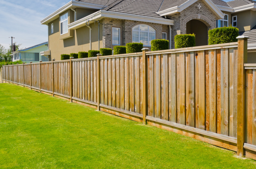 wood fenced yard
